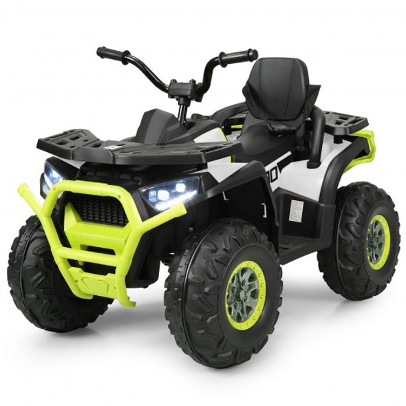 12 V Kids Electric 4-Wheeler ATV Quad with MP3 and LED Lights-White