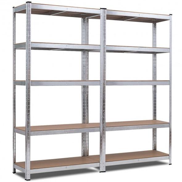 2 Pcs Storage Shelves Garage Shelving Units Tool Utility Shelves-Silver