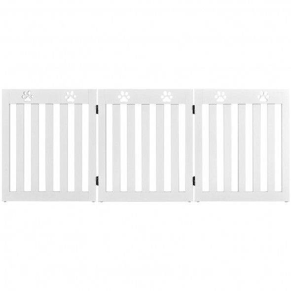 """24"""" Folding Wooden Freestanding Dog Gate with 360 Flexible Hinge for Pet-White"""