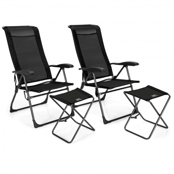 4 Pieches Patio Adjustable Back Folding Dining Chair Ottoman Set-Black