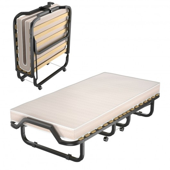 Folding Rollaway Bed Extra Guest with Memory Foam Mattress