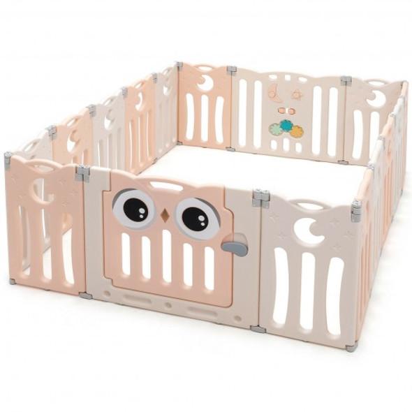 16-Panel Baby Activity Center Play Yard with Lock Door -Pink
