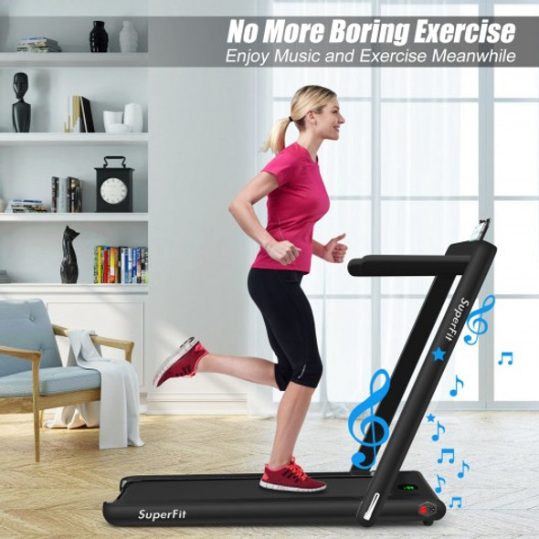 2 in 1 2.25 HP Under Desk Electric Installation-Free Folding Treadmil  with Bluetooth Speaker and LED Display-Black