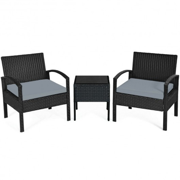 3 Pieces Outdoor Rattan Patio Conversation Set with Seat Cushions-Gray
