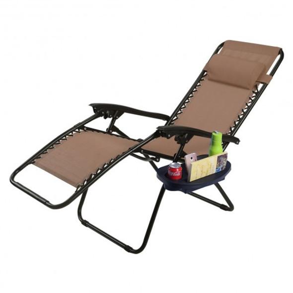Outdoor Folding Zero Gravity Reclining Lounge Chair w/ Utility Tray-Brown