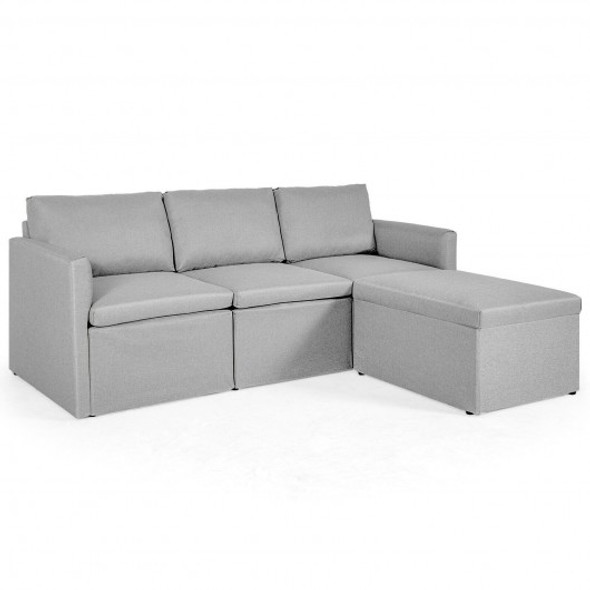 Convertible L-Shaped Sectional Sofa Couch with Reversible Chaise-Light Gray