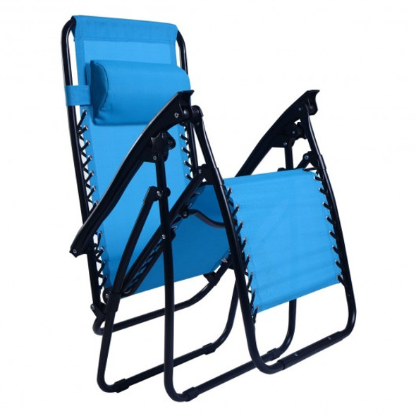 Outdoor Folding Zero Gravity Reclining Lounge Chair-Light Blue