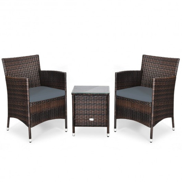 3 Pcs Outdoor Rattan Wicker Furniture Set-Gray