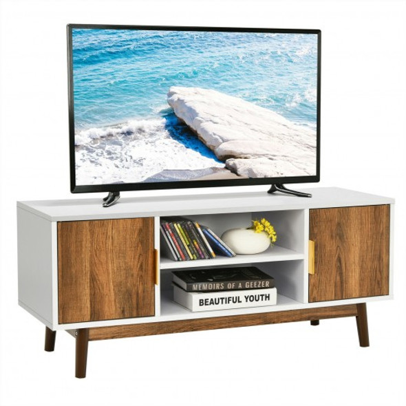 TV Stand Entertainment Media Console with 2 Storage Cabinets and Open Shelves