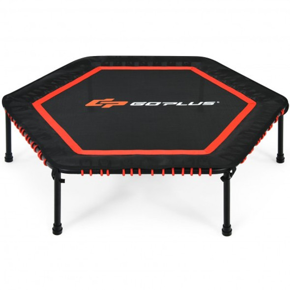 """50"""" Hexagonal Fitness Trampoline Exercise Rebounder with Pad-Red"""
