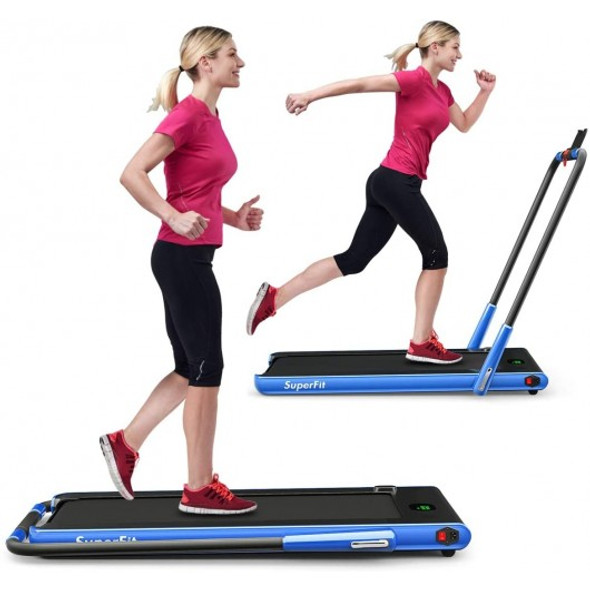 2-in-1 Folding Treadmill with RC Bluetooth Speaker LED Display-Blue