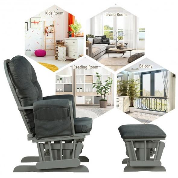 Baby Nursery Relax Rocker Rocking Chair Glider and Ottoman Set-Gray