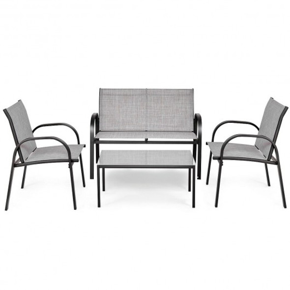 4 pcs Patio Furniture Set with Glass Top Coffee Table-Gray