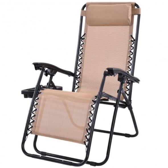 Outdoor Folding Zero Gravity Reclining Lounge Chair w/ Utility Tray-Beige