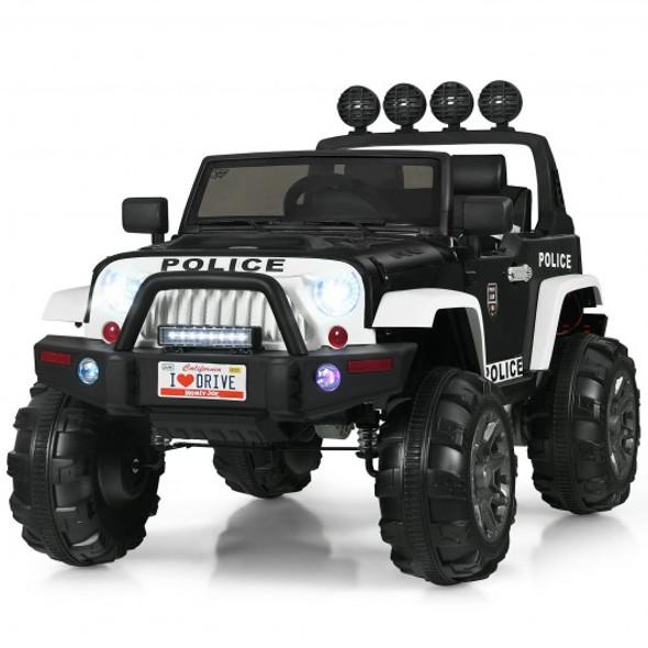12V Kids Spring Suspension Ride On Truck-Black & White