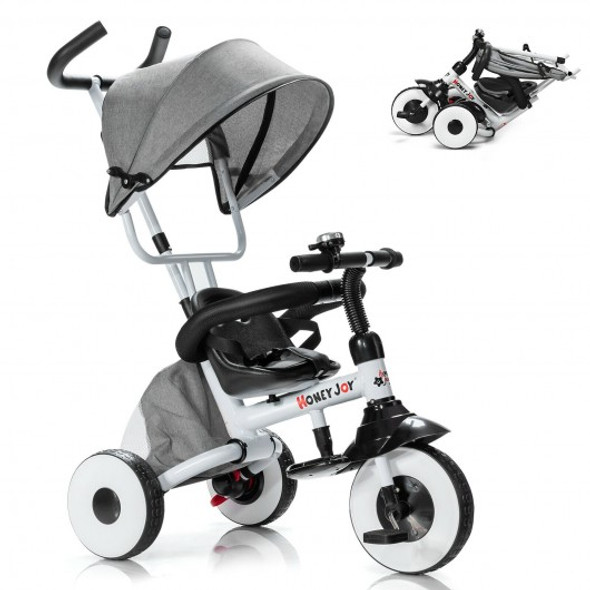 4-in-1 Kids Baby Stroller Tricycle Detachable Learning Toy Bike-Gray