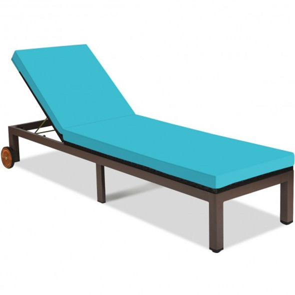 Patio Chaise Lounge Chair Outdoor Rattan Lounger Recliner Chair-Turquoise