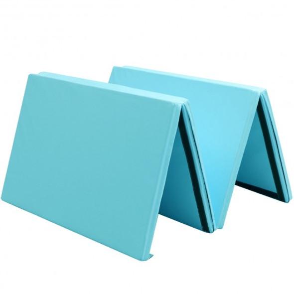 "4' x 10' x 2"" Thick Folding Panel Aerobics Exercise Gymnastics Mat-Light Blue"