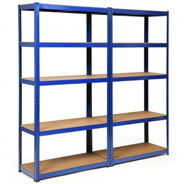 2 Pcs Storage Shelves Garage Shelving Units Tool Utility Shelves-Navy