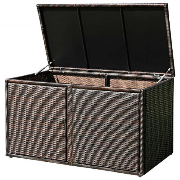 88 Gallon Garden Patio Rattan Storage Container Box-Brown