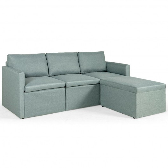 Convertible L-Shaped Sectional Sofa Couch with Reversible Chaise-Green