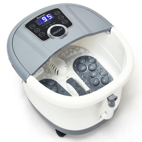 Portable Electric Foot Spa Bath Shiatsu Roller Motorized Massager-Gray