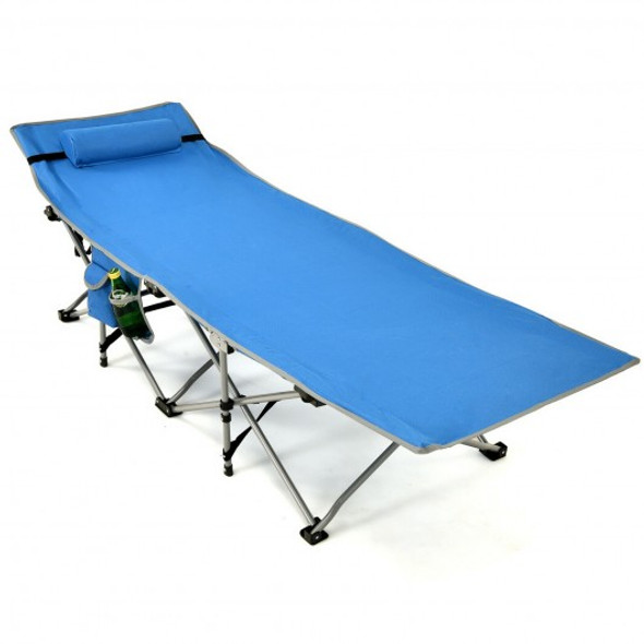 Folding Camping Cot with Side Storage Pocket Detachable Headrest-Blue