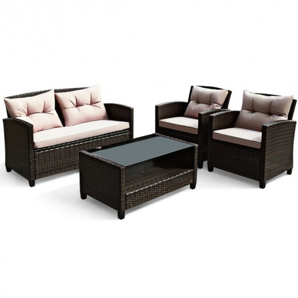 4 Pcs Outdoor Rattan Armrest Furniture Set Table with Lower Shelf - COHW66742