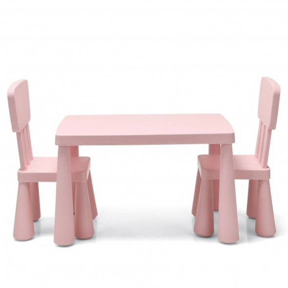 3-Piece Toddler Multi Activity Play Dining Study Kids Table and Chair Set-Pink