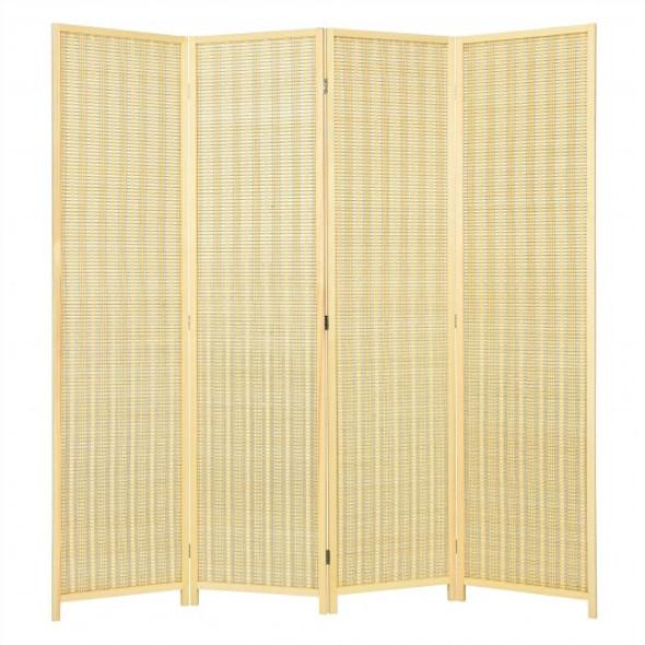 6 ft 4 Panel Portable Folding Room Divider Screen-Natural
