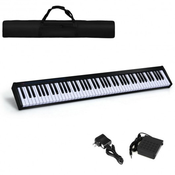 88-Key Portable Electronic Piano with Bluetooth and Voice Function-Black