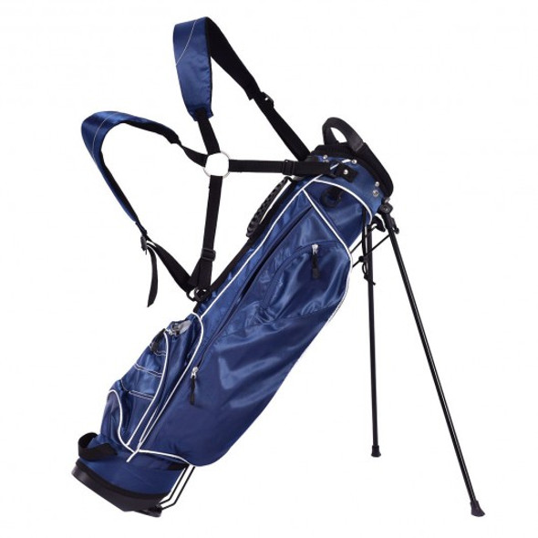 Golf Stand Cart Bag w/ 4 Way Divider Carry Organizer Pockets-Blue
