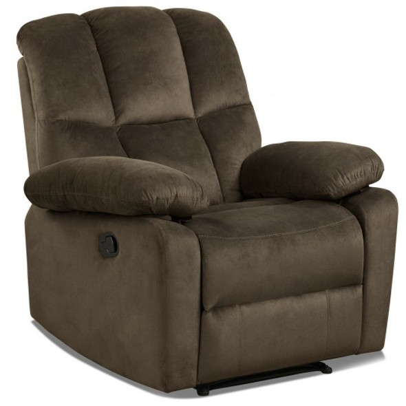 Recliner Chair Single Sofa Lounger Home Theater Seating with Footrest-Brown