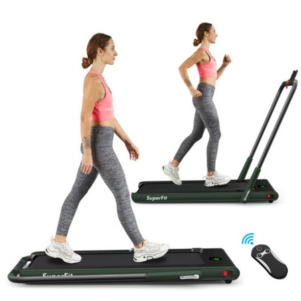 2-in-1 Folding Treadmill with RC Bluetooth Speaker LED Display-Green