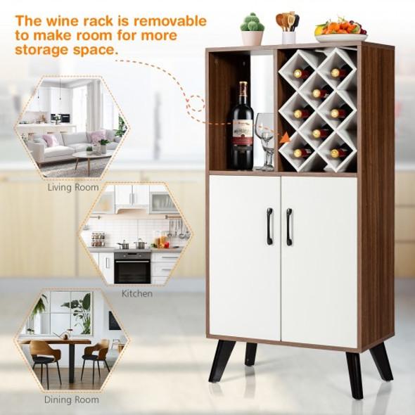 Bar Cabinet Wooden Buffet Sideboard Storage Cupboard with Wine Rack