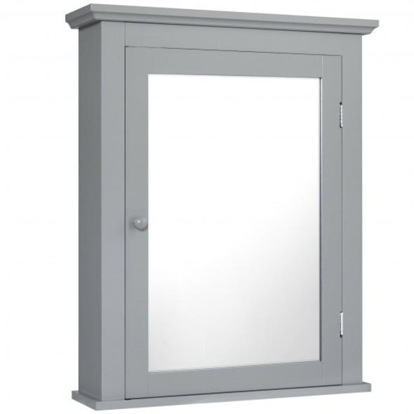 Bathroom Mirror Cabinet Wall Mounted Adjustable Shelf Medicine Storage-Gray