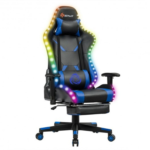 Massage Racing Gaming Chair  Chair with RGB LED Lights-Blue - COHW67665BL