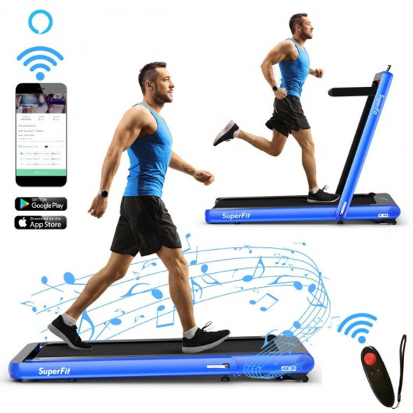 4.75HP 2 In 1 Folding Treadmill with Remote APP Control-Navy
