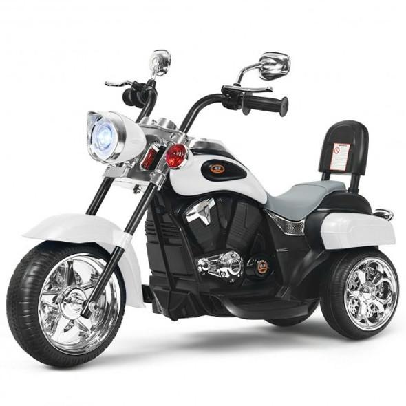 6V 3 Wheel Kids Motorcycle-White