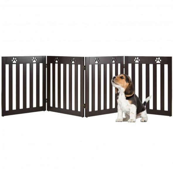 "24"" Folding Wooden Freestanding Pet Gate Dog Gate with 360 Hinge -Espresso"