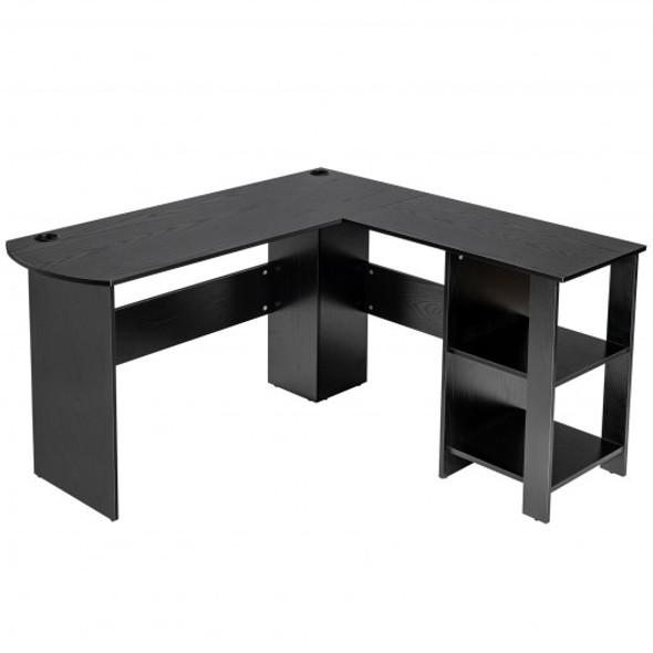 Modern L-Shaped Computer Desk with Shelves-Black