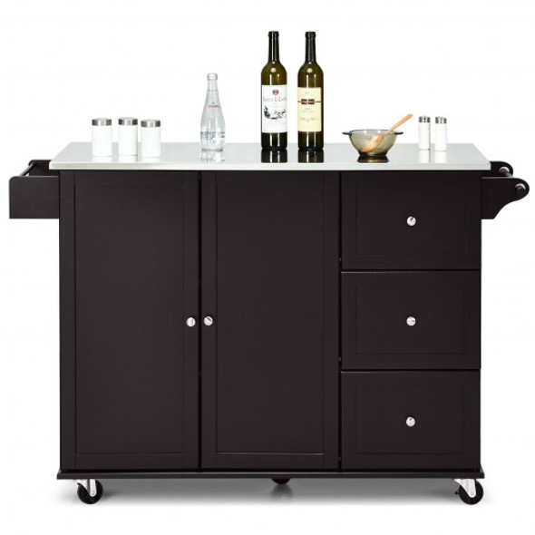Kitchen Island 2-Door Storage Cabinet with Drawers and Stainless Steel Top-Black