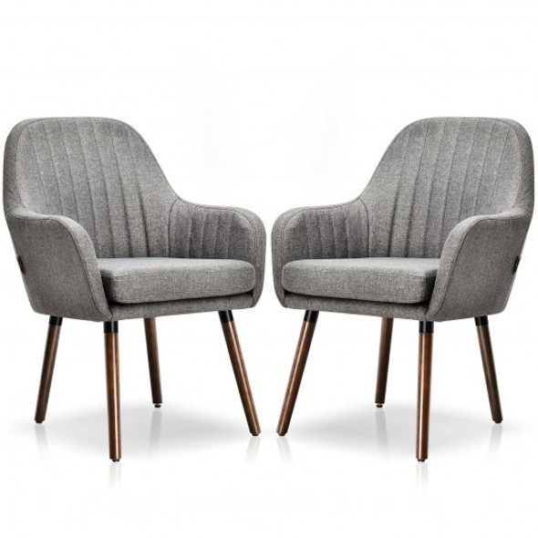 Set of 2 Fabric Upholstered Accent Chairs with Wooden Legs-Gray