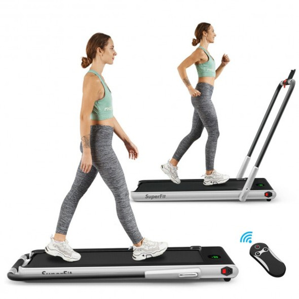 2-in-1 Folding Treadmill with RC Bluetooth Speaker LED Display-Silver