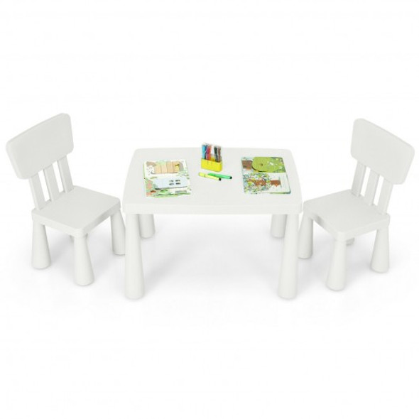 3-Piece Toddler Multi Activity Play Dining Study Kids Table and Chair Set-White
