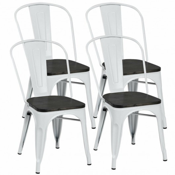 4 pcs Tolix Style Metal Dining Side Chair Stackable Wood Seat-White - COHW60716WH