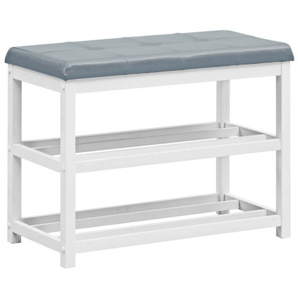 2-Tier Wooden Shoe Rack Bench with Padded Seat-White