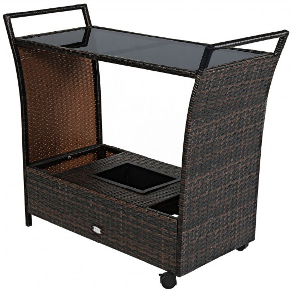 Patio Rattan Bar Serving Cart with Glass Top and Handle