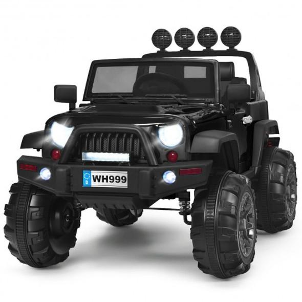 12V Kids Spring Suspension Ride On Truck-Black
