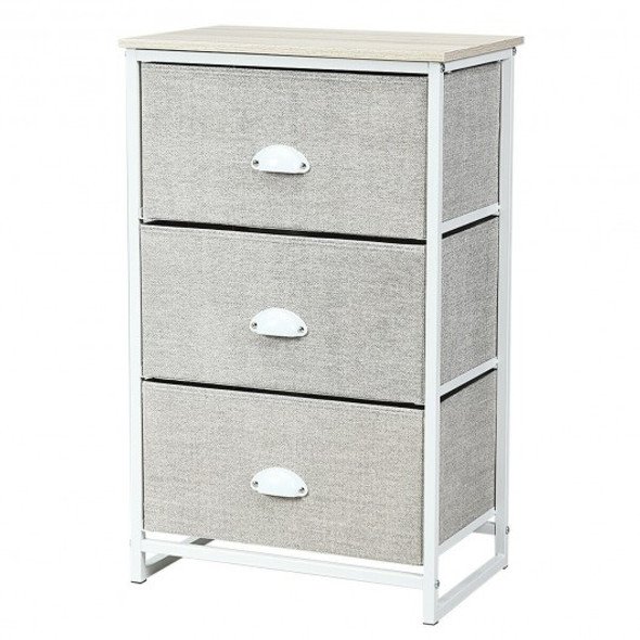 Nightstand Side Table Storage Tower Dresser Chest with 3 Drawers-Gray